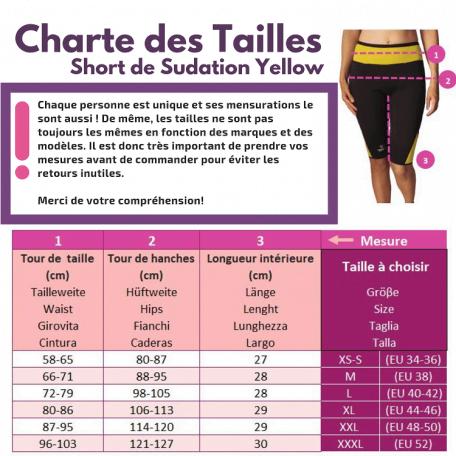 charte des tailles bien short sudation