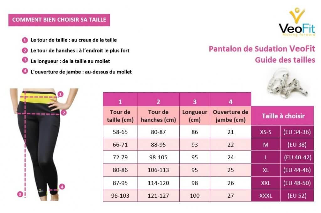 Guide des tailles pantalon