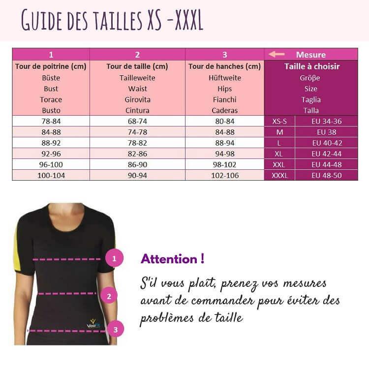 guide des tailles tshirt de sudation
