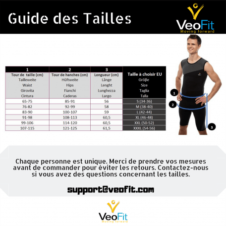 guide tailles short homme veofit