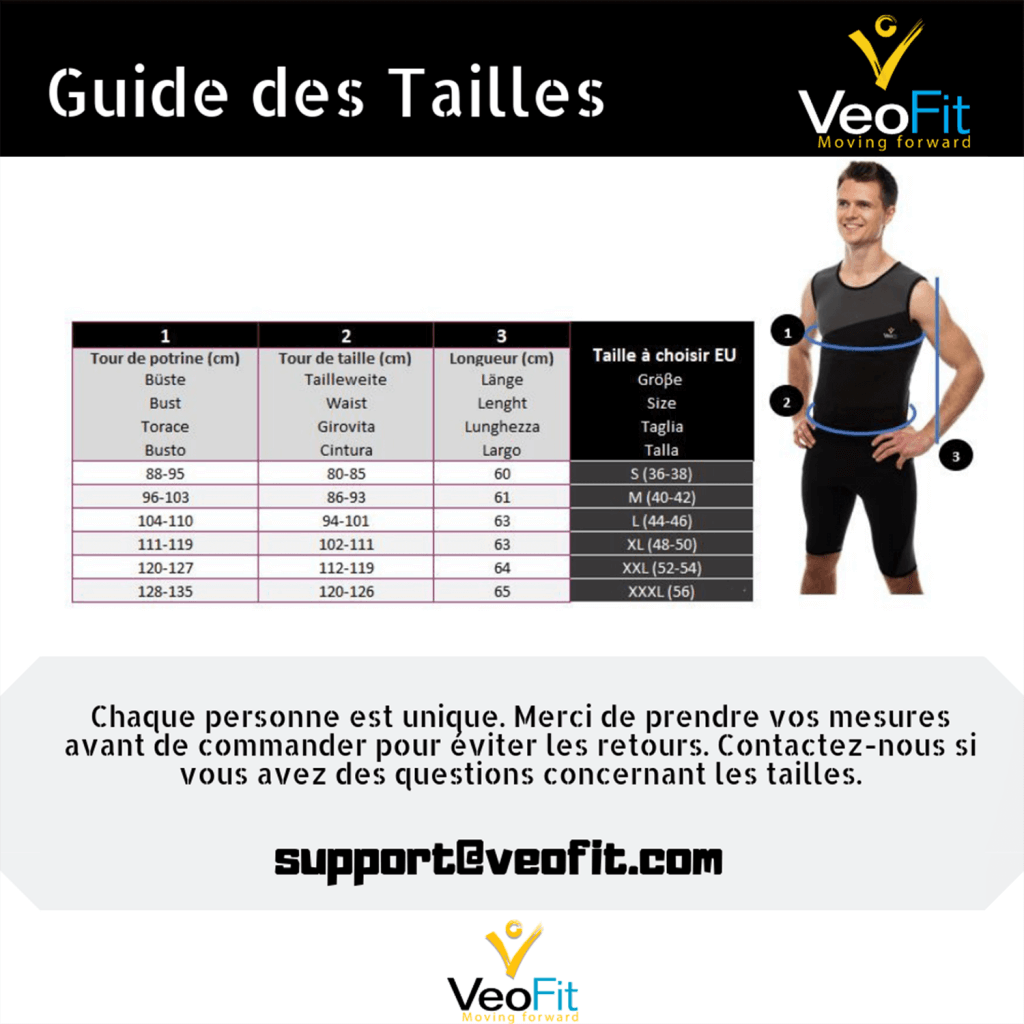 charte tailles veofit top homme