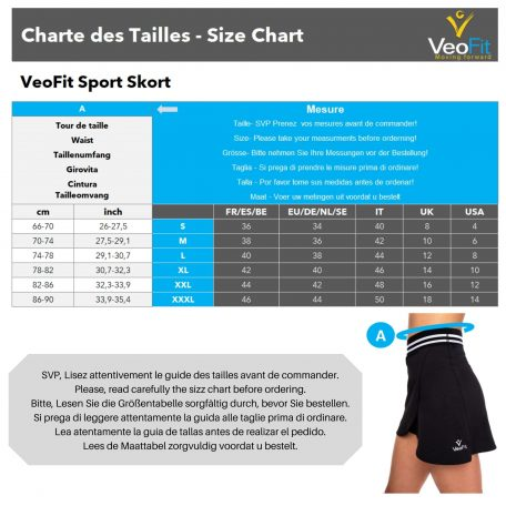 guide taille short jupe yoga veofit